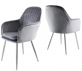 Genesis Muse Chair in Velvet Fabric x 2 - Grey