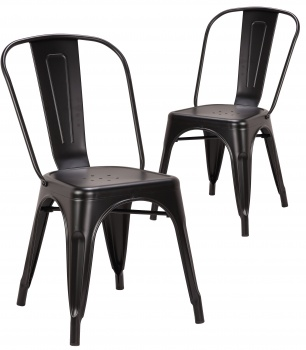 Pollux Metal Chair for Home Bar Restaurant x 2 - Matte Black