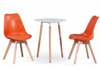 RayGar Small Round Table and 2 x Deluxe Chairs Dining Set - Orange