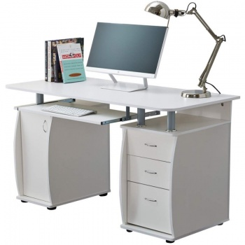 RayGar Deluxe Computer Desk With Cabinet and 3 Drawers - White