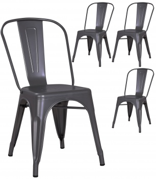 Pollux Metal Chair for Home Bar Restaurant x 4 - Metallic Grey