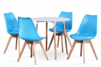 RayGar Large Round Table and 4 x Deluxe Chairs Dining Set - Blue