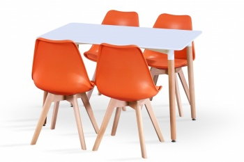 RayGar Rectangular Table and 4 x Deluxe Chairs Dining Set - Orange