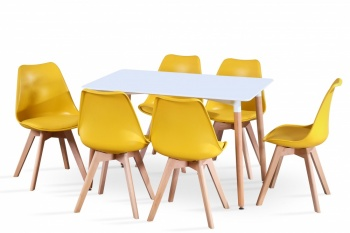 RayGar Rectangular Table and 6 x Deluxe Chairs Dining Set - Yellow