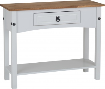 Corona 1 Drawer Console Table - Grey & Distressed Waxed Pine