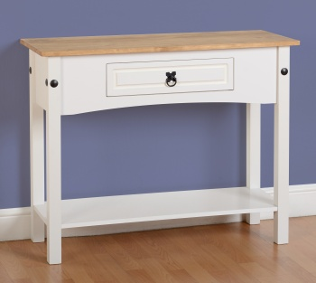 Corona 1 Drawer Console Table with Shelf - White Waxed Pine