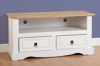 Corona TV Stand 2 Drawer White & Distressed Waxed Pine