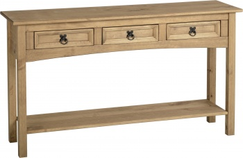 Corona 3 Drawer Console Table with Shelf - Waxed Pine