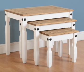 Corona Nest of Tables - White Waxed Pine