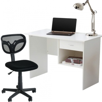 Computer Desk and Chair Office Set - White