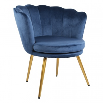 Genesis Flora Accent Chair with Petal Back Scallop Armchair in Velvet - Dark Teal