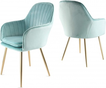 Genesis Muse Chair in Velvet Fabric x 2 - Blue Tint