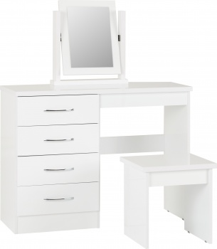 Nevada 4 Drawer Dressing Table Set - White