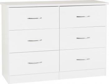 Nevada 6 Drawer Chest - White