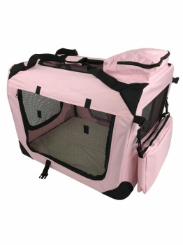 RayGar Folding Soft Crate Pet Carrier (Dog, Cat, Puppy, Kitten) - Pink