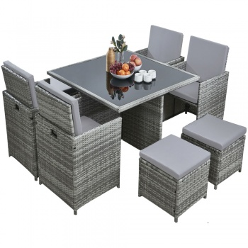 RayGar Deluxe 9 Piece 8 Seater Rattan Dining Garden Furniture Patio Set - Grey/Grey