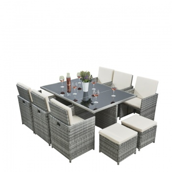 RayGar Deluxe 11 Piece 10 Seater Rattan Cube Garden Furniture Patio Set - Grey/Beige