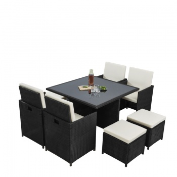 RayGar Deluxe 9 Piece 8 Seater Rattan Dining Garden Furniture Patio Set - Black