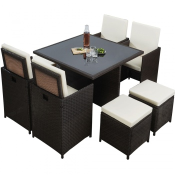 RayGar Deluxe 9 Piece 8 Seater Rattan Dining Garden Furniture Patio Set - Brown