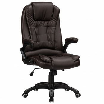 RayGar Luxury Faux Leather High Back Reclining Office Chair - Brown