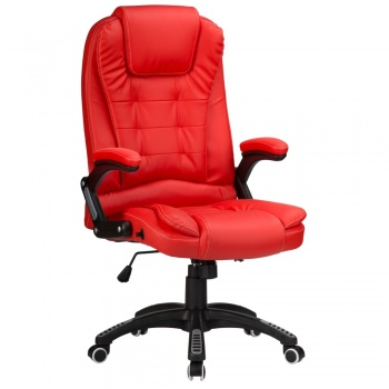 RayGar Luxury Faux Leather High Back Reclining Office Chair - Red
