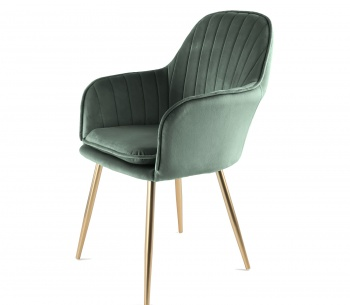 Genesis Muse Chair in Velvet Fabric - Bistro Green