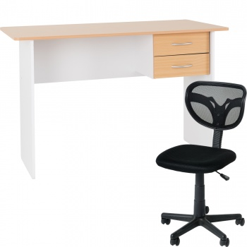 Jenny Desk with Clifton Chair Office Set - White/Beech