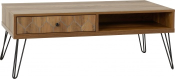 Ottawa 1 Drawer Coffee Table - Oak/Black