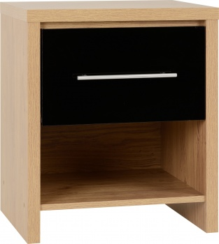 Seville 1 Drawer Bedside Cabinet - Black/Oak