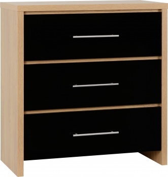 Seville 3 Drawer Chest - Black/Oak