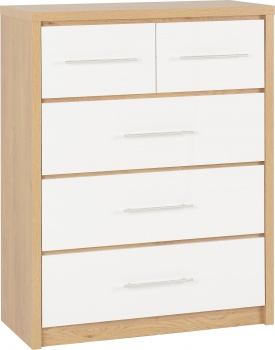 Seville 3+2 Drawer Chest - White/Oak