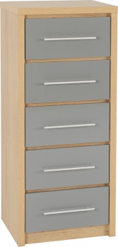 Seville 5 Drawer Narrow Chest - Grey/Oak
