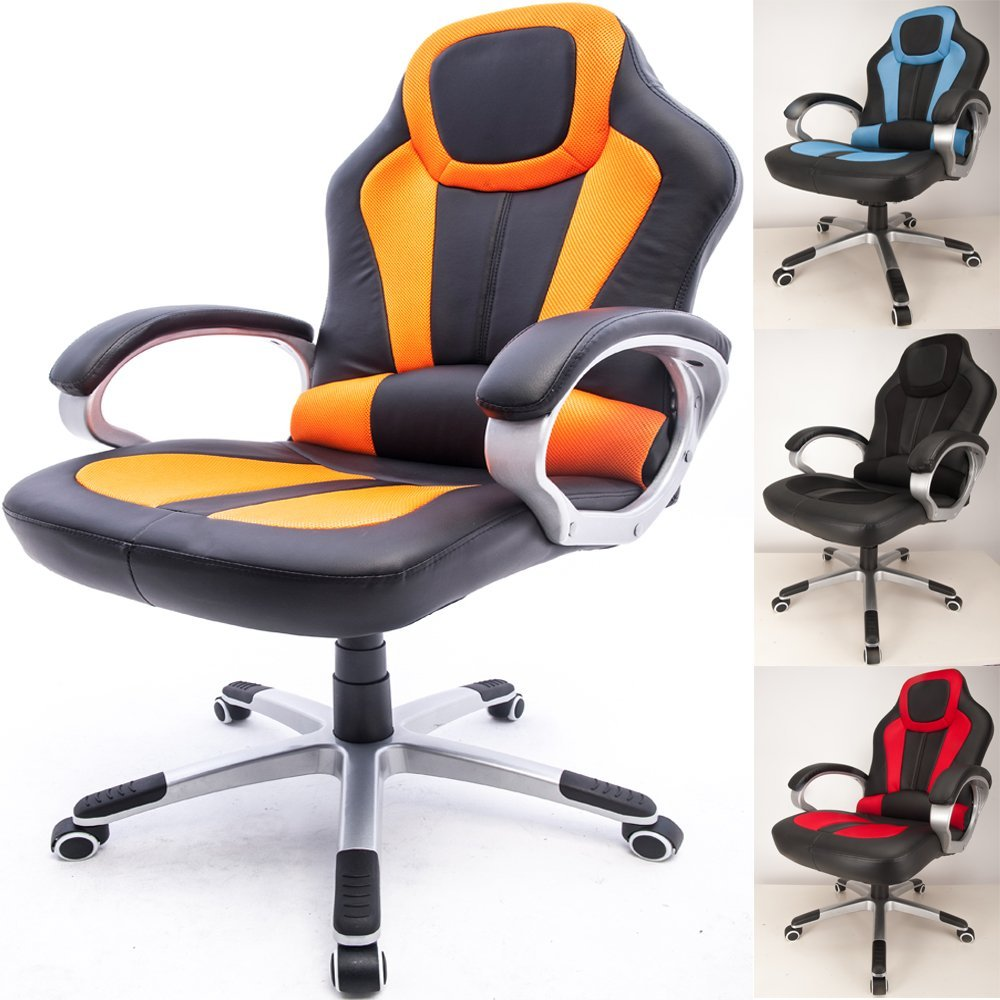 Raygar Deluxe Padded Sports Racing Gaming Office Chair Orange