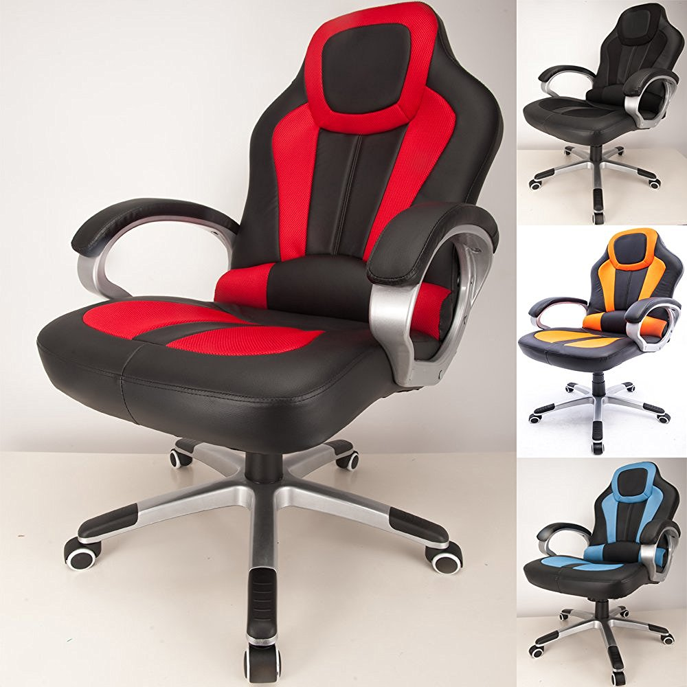 Raygar Deluxe Padded Sports Racing Gaming Office Chair Red
