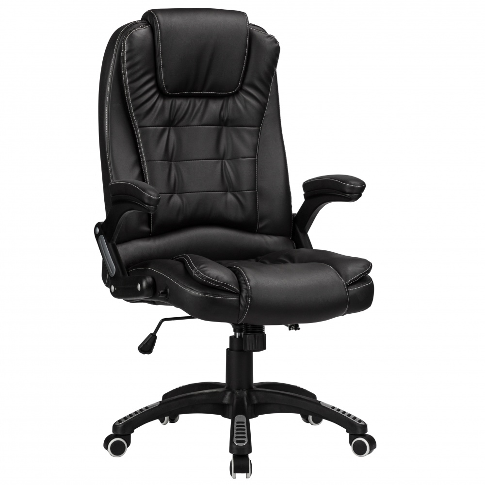 Raygar Luxury Faux Leather High Back Reclining Office Chair Black