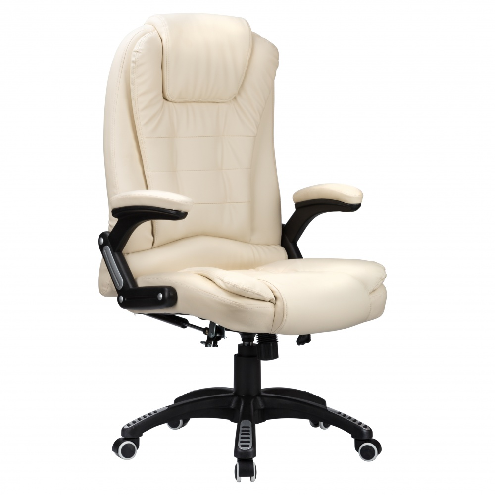 RayGar Luxury Faux Leather High Back Reclining Office Chair Cream