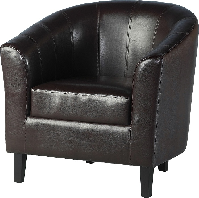 Tempo Tub Chair In Faux Leather Brown