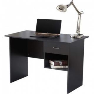 RayGar Computer Desk with Drawer and Open Storage Space for Home and Office - Black