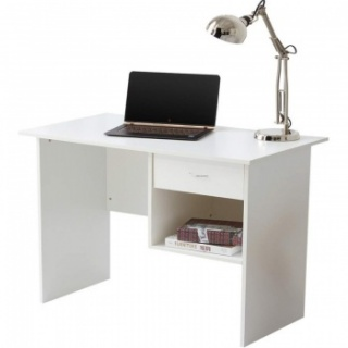 RayGar Computer Desk with Drawer and Open Storage Space for Home and Office - White