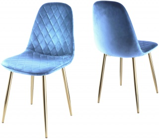 Genesis Athena Chair in Velvet Fabric x 2 - Navy