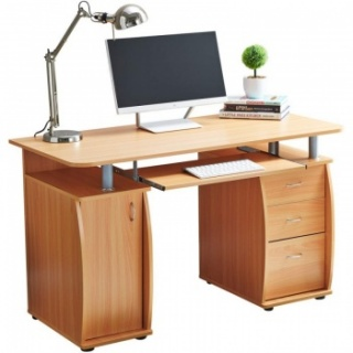 RayGar Deluxe Computer Desk With Cabinet and 3 Drawers - Beech