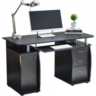 RayGar Deluxe Computer Desk With Cabinet and 3 Drawers - Black