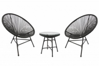 RayGar 3pcs Bistro Egg Designer String Chair Indoor & Garden Set - Black
