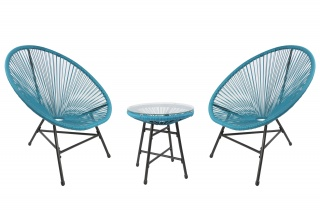 RayGar 3pcs Bistro Egg Designer String Chair Indoor & Garden Set - Blue