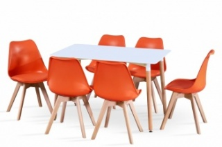RayGar Rectangular Table and 6 x Deluxe Chairs Dining Set - Orange