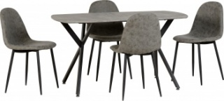 Athens Dining Set - Grey Faux Leather/Concrete Effect