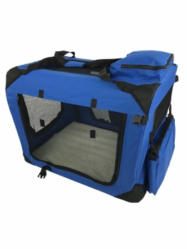 RayGar Folding Soft Crate Pet Carrier (Dog, Cat, Puppy, Kitten) - Blue
