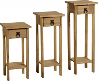 Corona Plant Stands (Set of 3) - Waxed Pine
