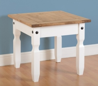 Corona Lamp Table - White & Distressed Waxed Pine