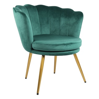 Genesis Flora Accent Chair with Petal Back Scallop Armchair in Velvet - Green